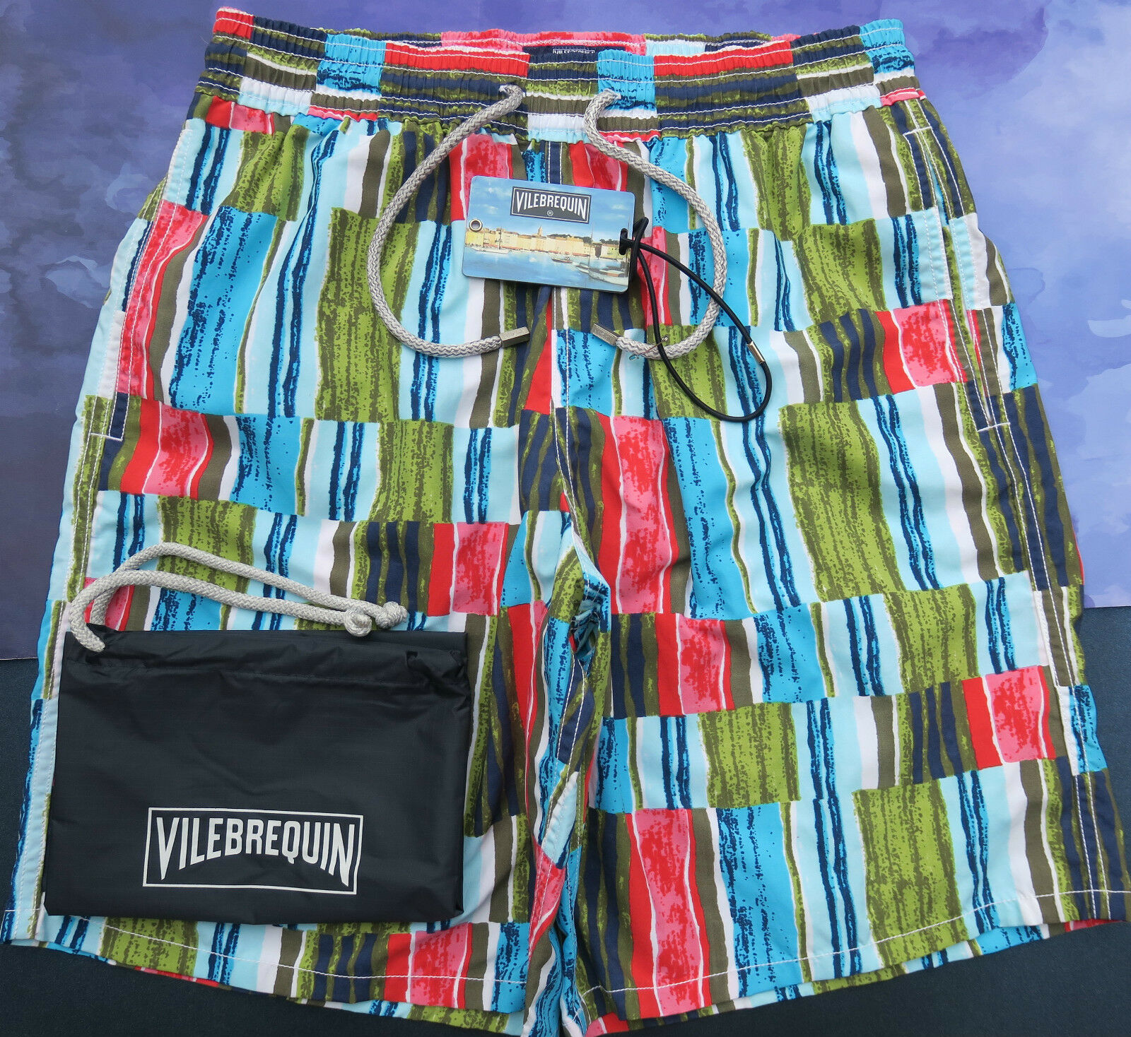 Vilebrequin Mens Swim Shorts Long Okoa Size M  28 Stained Glass Olive Green