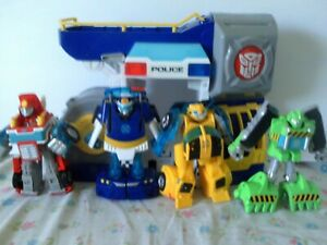 Transformers Rescue Bots Transforming Figures, and Playset Lot Loose