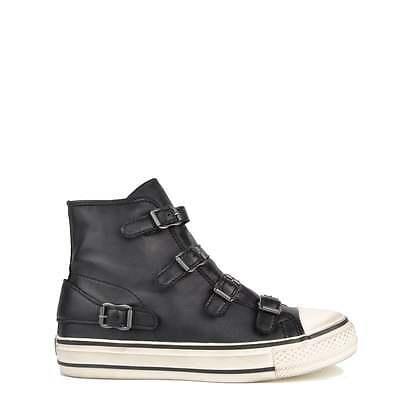 Ash Virgin Hebilla de Cuero Negro Cremallera Mujeres Zapatos Zapatillas Nuevo