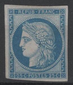 FRANCE-YVERT-SCOTT-4-d-034-CERES-25c-BLUE-1862-034-MH-VF-SIGNED-P275