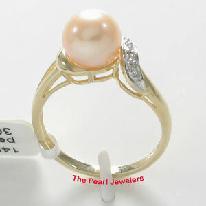 14k-Solid-Yellow-Gold-AAA-Pink-Round-Cultured-Pearl-amp-Diamond-Cocktail-Ring-TPJ