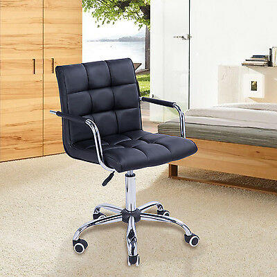 Roller Padded Faux Leather Office Chair Armchair Low Back Dining Bar Stool Black