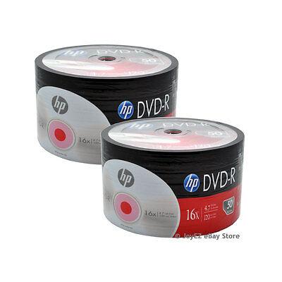 100 Pack HP Brand Logo Blank 16x DVD-R DVDR Recordable Disc Media Shrink Wrap