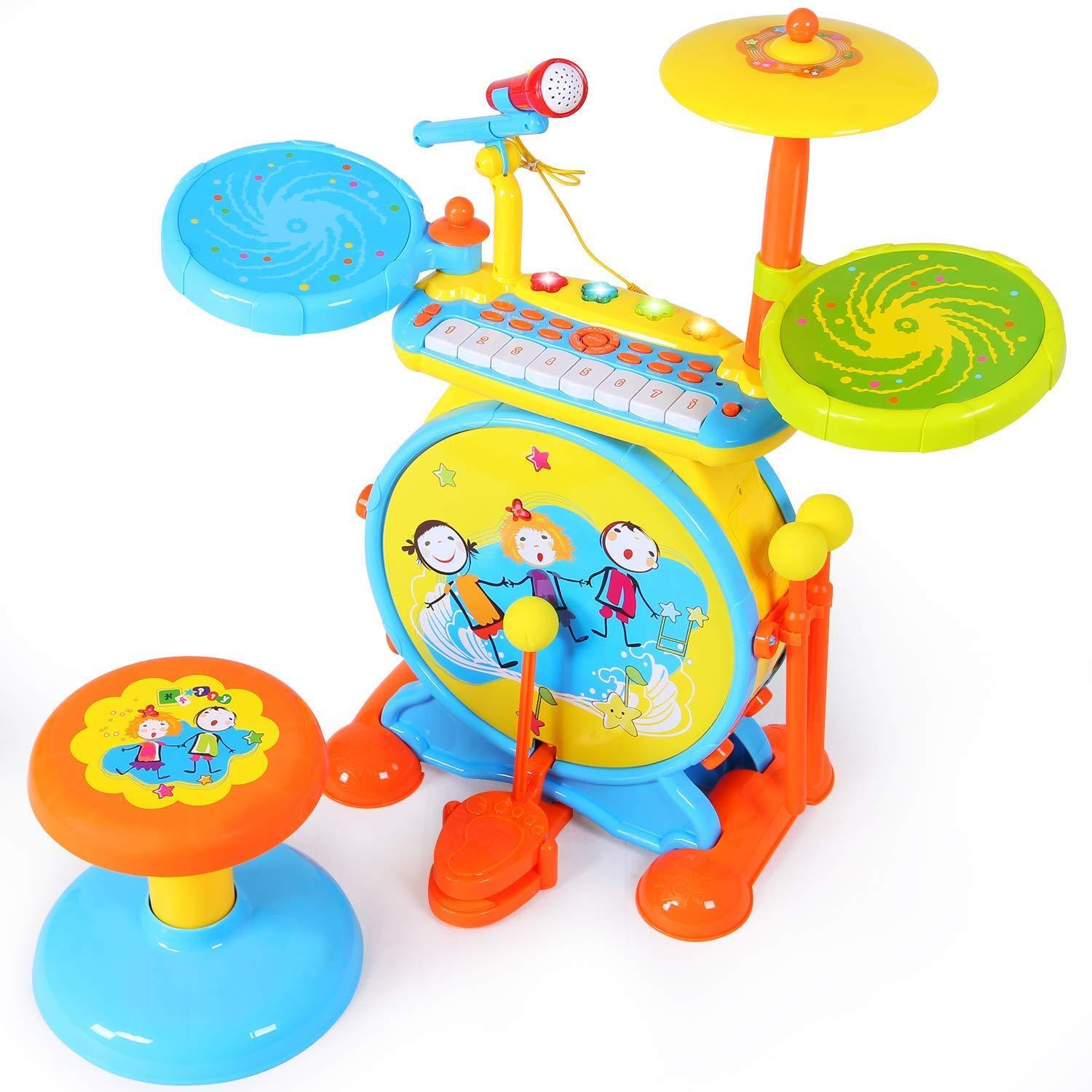 Kids Electronic Rock Drum Play Set with Keyboard and Microphone Musical Toy