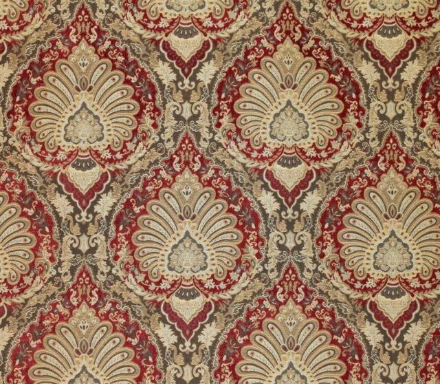 "55"" Wide Leonardo Ruby Damask Traditional Chenille Upholstery sofa fabric yard"