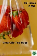 100 Clear Reclosable Top Lock Zip Seal Bag 2 Mil Plastic Zipper Large And Small