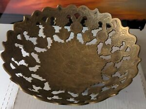 """Decorative Footed Brass Bowl Made In India 12"""" intricate design"""