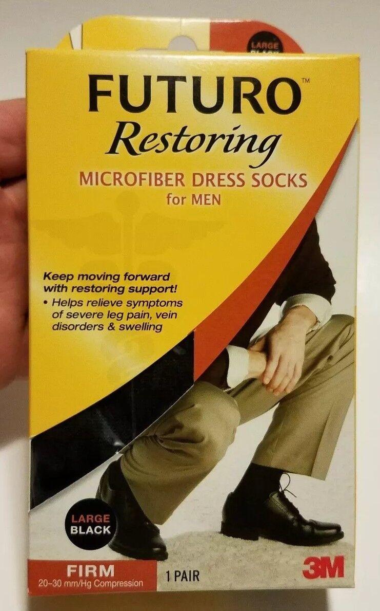 1 Pair Pack of 6 Futuro Revitalizing Trouser Socks for Women Knee Highs Large Black Moderate