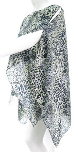 Womens New Grey Snow Animal Print Poncho Kaftan Top Plus Size Ladies New