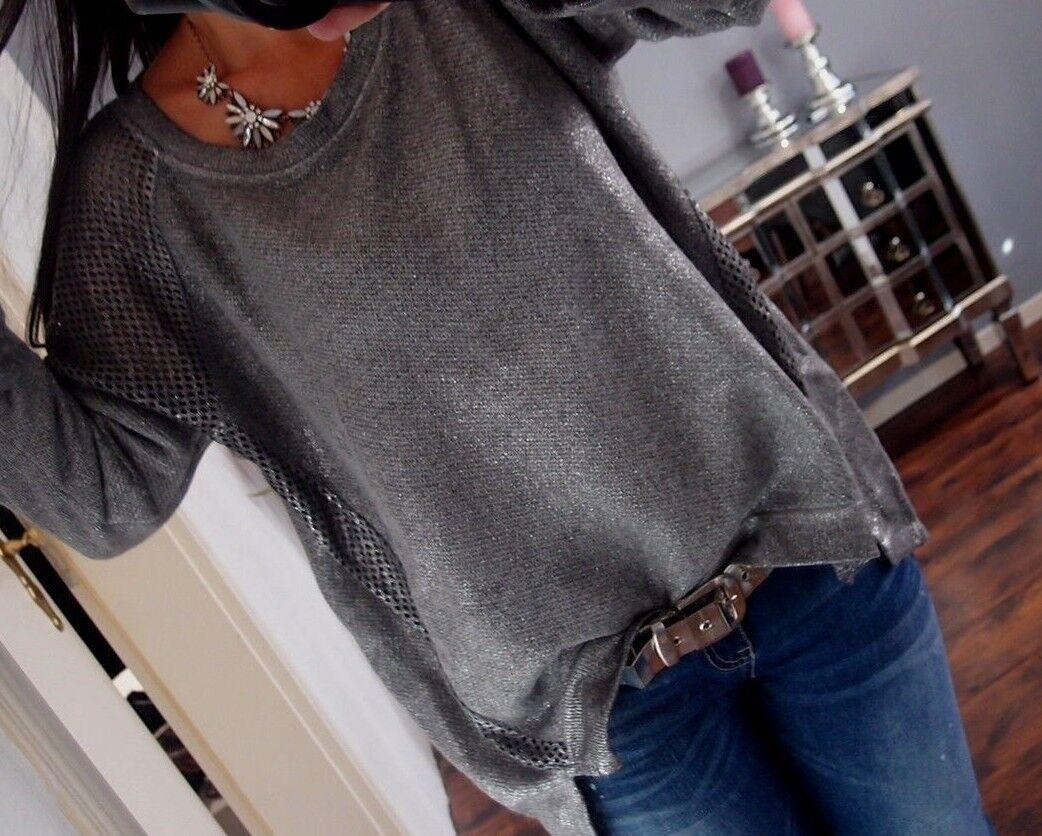 Sweat Shirt 42 44 Neu Grau Pulli Pullover Glitzer Trend  Warm Wolle (Mohair | Trendy  | Um Zuerst Unter ähnlichen Produkten Rang  | Bekannt für seine hervorragende Qualität  | Hat einen langen Ruf  | Marke