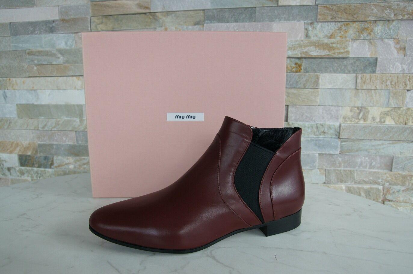 Miu Miu Gr 38 Botines de Tobillo Tobillo Tobillo Zapatos Botines 5T9336 Rojo Nuevo Antiguo 945760