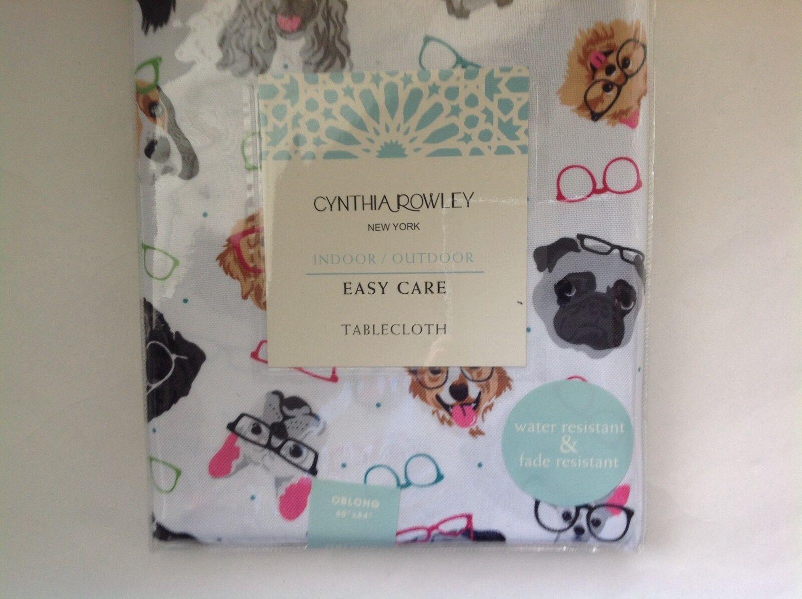 New Cynthia Rowley Tablecloth Corgi Retriever Dogs Glasses Oblong 60  x 84