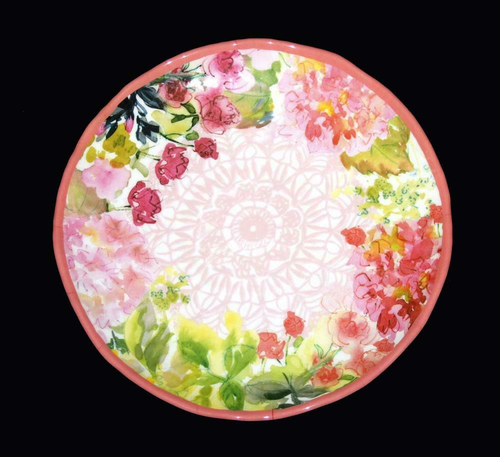 4 Watercolor Spring Floral Garden 10-3 4  Melamine Scalloped Dinner Plates NWT