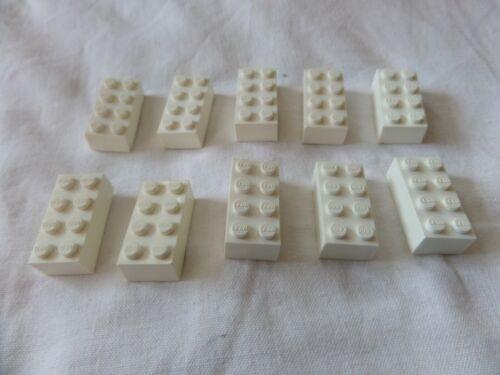 10 x Lego 3001 Baustein Basisstein 2x4 weiss gebraucht 300101
