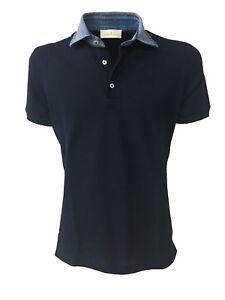 Mod à Ciana hommes manches 100 courtes Della 71 pour en 50063l jean Bleu col Polo et coton 5pwX7qw