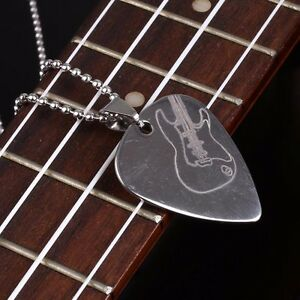 Silver-Stainless-Steel-Guitar-Parts-And-Accessories-Rock-Guitar-Pick-Necklace
