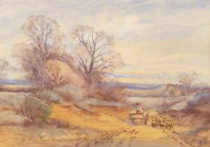 Early-20th-Century-Watercolour-The-Country-Lane