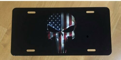 Punisher Anerican Flag License Plate New Car Tag Metal