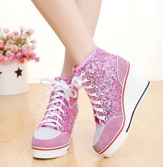 Femme High Top Sequins Wedge heel Sneaker Casual Lace Up Ankle Bottes Chaussures Vogue