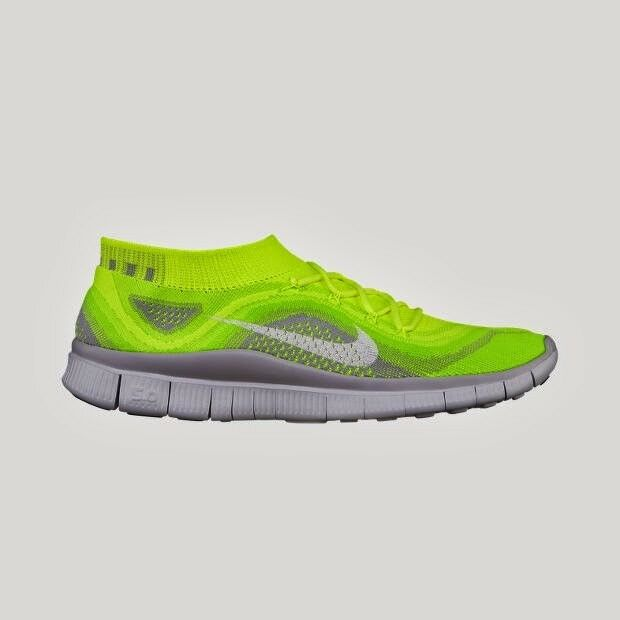 NIKE FLYKNIT FREE 5.0 Mens Size US 11.5 45.5 VoltWhite Electric Green Wolf Grey