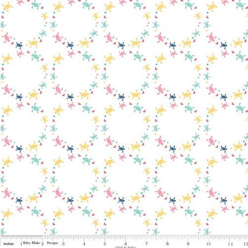 BY YARD-Saltwater Turtle Cream Ocean Circle Riley Blake Fabric C4433-White
