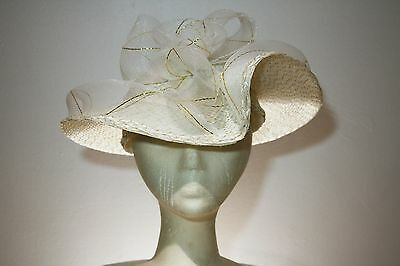 Women's White and Gold Wide Brim Straw Dress Hat