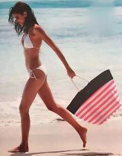 Victorias Secret SWIM Tote 2016 Beach Bag Pink White Stripes Rope Handles - NWT