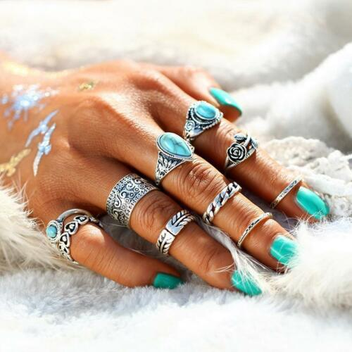 Vintage blue stone Knuckle Ring Set Turquoise Knuckle Bagues Boho Jewelry DD