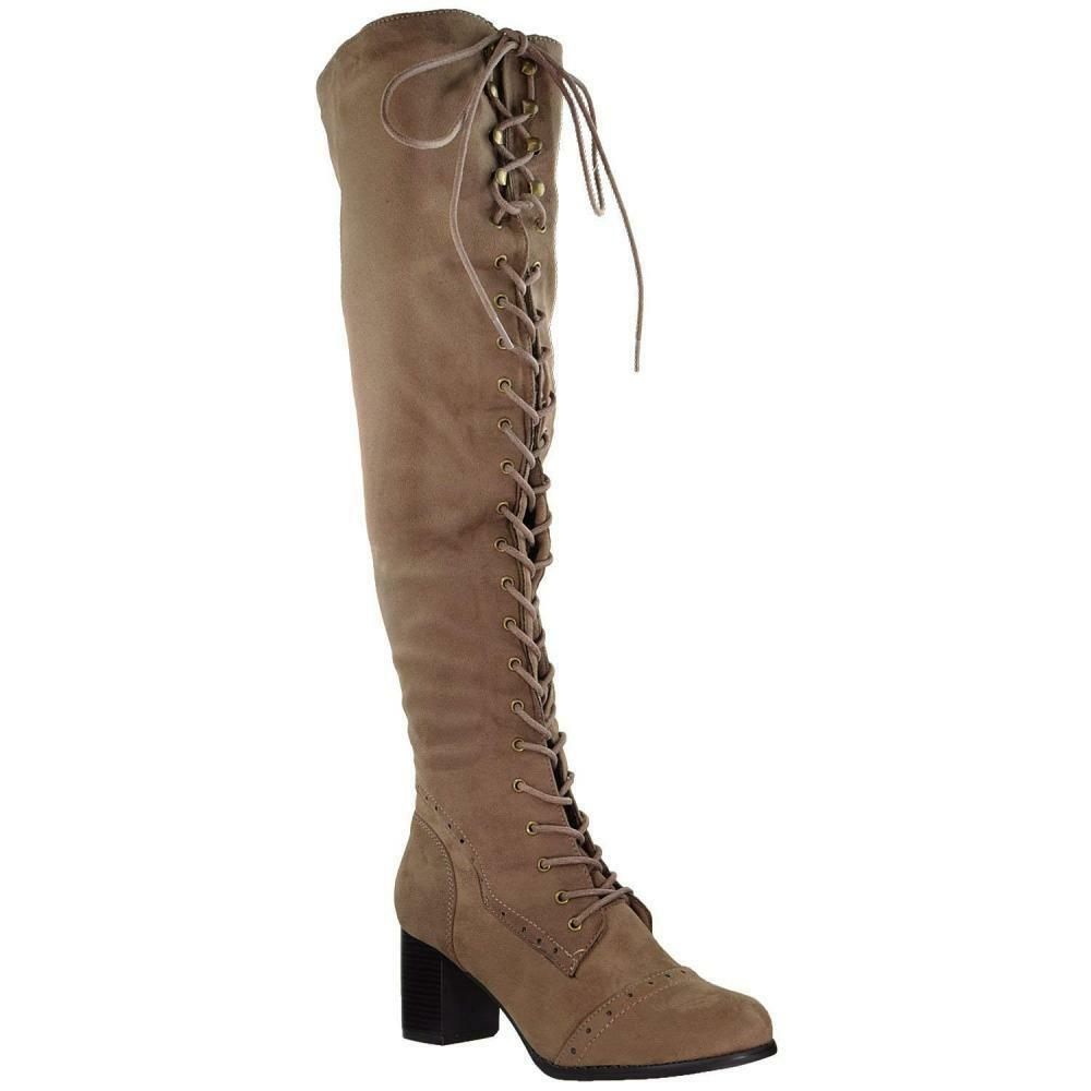 Generation Y damen Knee High Stiefel Chunky Chunky Chunky Block Heel Retro Lace Up Western schuhe a56067