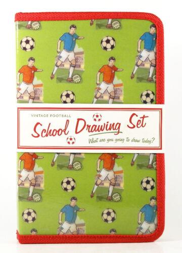 Vintage-Motiv Fußball Zeichenbedarf Federmappe gefüllt 21-teilig