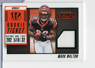 Mark Walton Bengals Jersey RTSV-31 Rookie Ticket Contenders Panini 110220MLCD | eBay