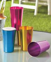 Set Of 4 Aluminum Retro Pint Drinkware Glasses Durable Colorful Drinking Cups