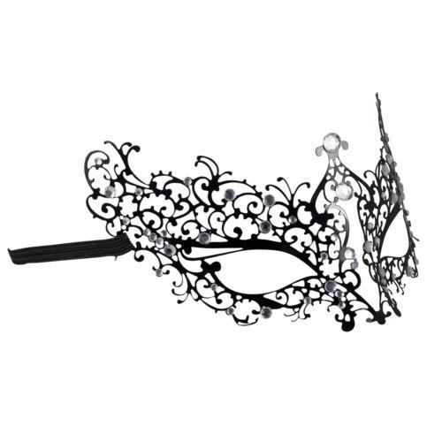 Pizzo Nero Metallo Lusso Maschera Maschera Veneziana Filigrana DIAMANTATI Costume