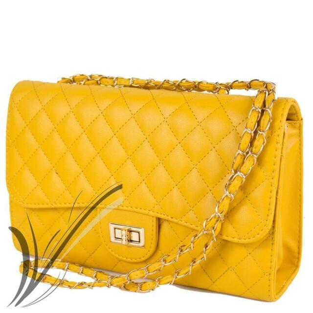 Borsa gialla tracolla catena trapuntata borsetta elegante pochette da donna 2020