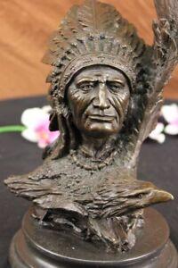 Selten-Indianer-Indianer-Kunst-Haeuptling-Adler-Bueste-Bronze-Marmor-Statue-Figur