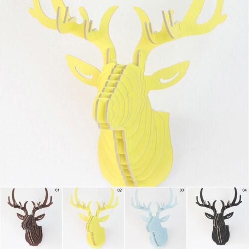 DIY Holz Hirschkopf Hirsch Elch Skulptur Wanddeko Haken Geweih Bilder Wandbehang