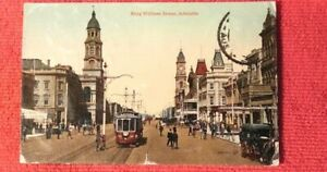 1920-Postcard-King-William-Street-Trams-Bikes-Horses-Adelaide-South-Australia