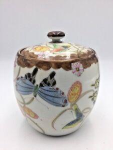 Ginger-Jar-Tea-Caddy-Famille-Rose-Butterflies-Flowers-Lid-Stout-Antique-Vintage