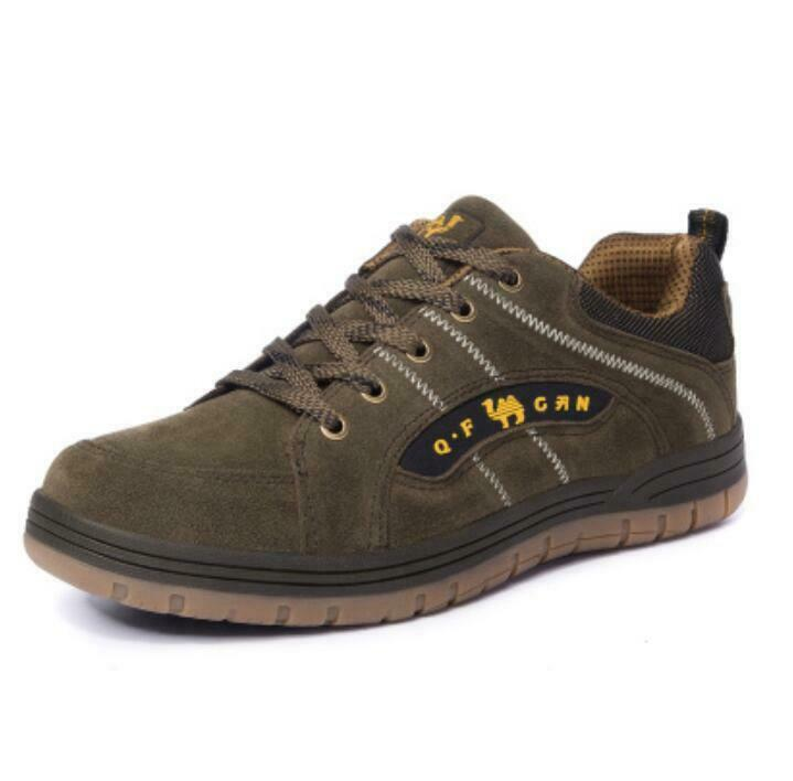 b7268c2023e59 Mens Suede Non-slip Durable Sneakers Casual Lace Up Hiking Work shoes MUK15