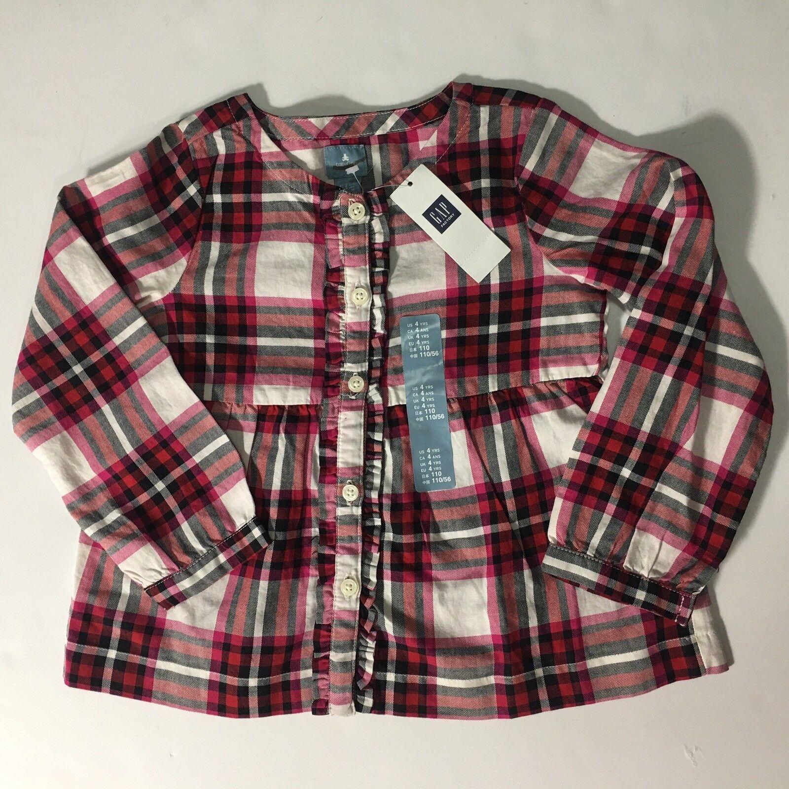 Baby Gap Girls Plaid Smock Long Sleeve Shirt Top Red Black Pink 4