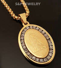 """Gold Stainless Steel Our Virgin Mary Pendant & 24"""" Round Box Chain Necklace 109G"""