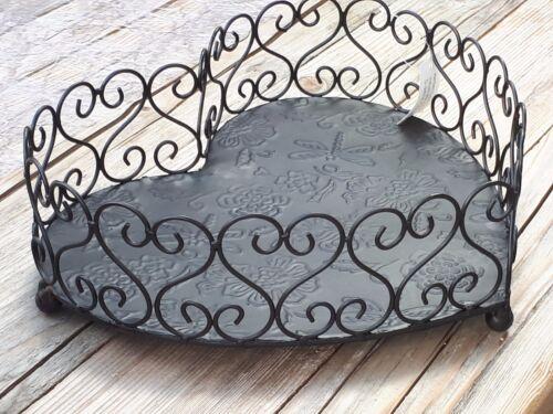 Metal corazón cáscara cesta decoración mesa frutero medios 21199 Shabby Viña