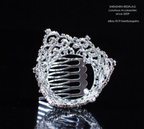 Girls Kids Mini Tiaras Hair Comb Crystal Rhinestone Wedding Small Crown Hairwear