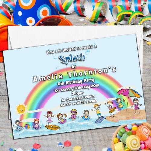 Personalised Girls Boys Swimming Pool Birthday Party Invitations N66