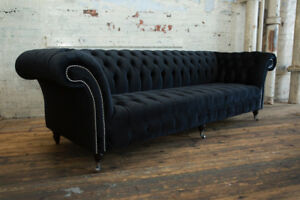 Details about MODERN LARGE HANDMADE 4 SEATER SOFT BLACK VELVET CHESTERFIELD  SOFA, FABRIC