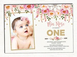 boho first 1st birthday invitation pink gold floral party invite