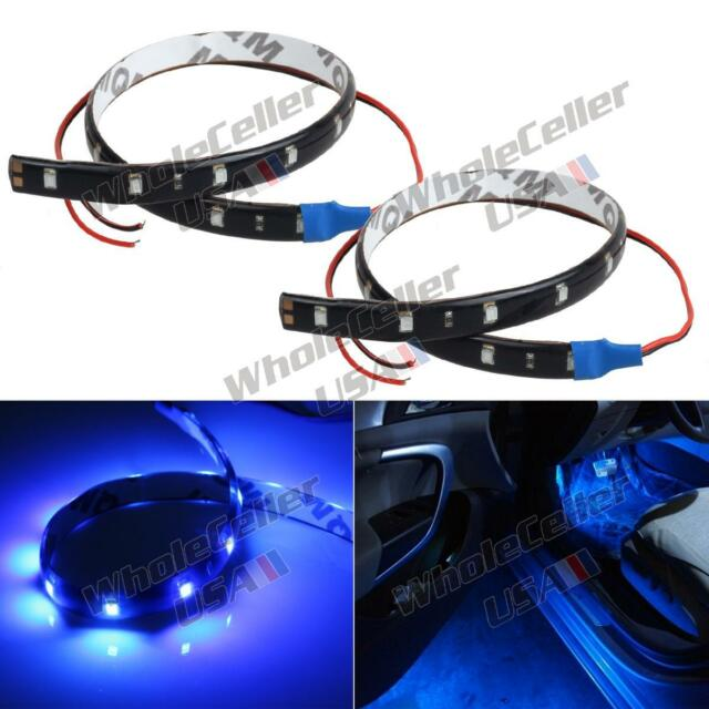 2pcs 15-SMD Ultra Blue LED Strip Lights For Car Cup Holder Glove Box Foot Area