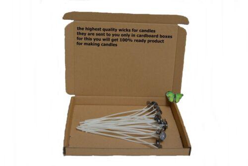 10//20 18cm 7inch haute qualité pré ciré mèches avec SUSTAINERS POUR candle making