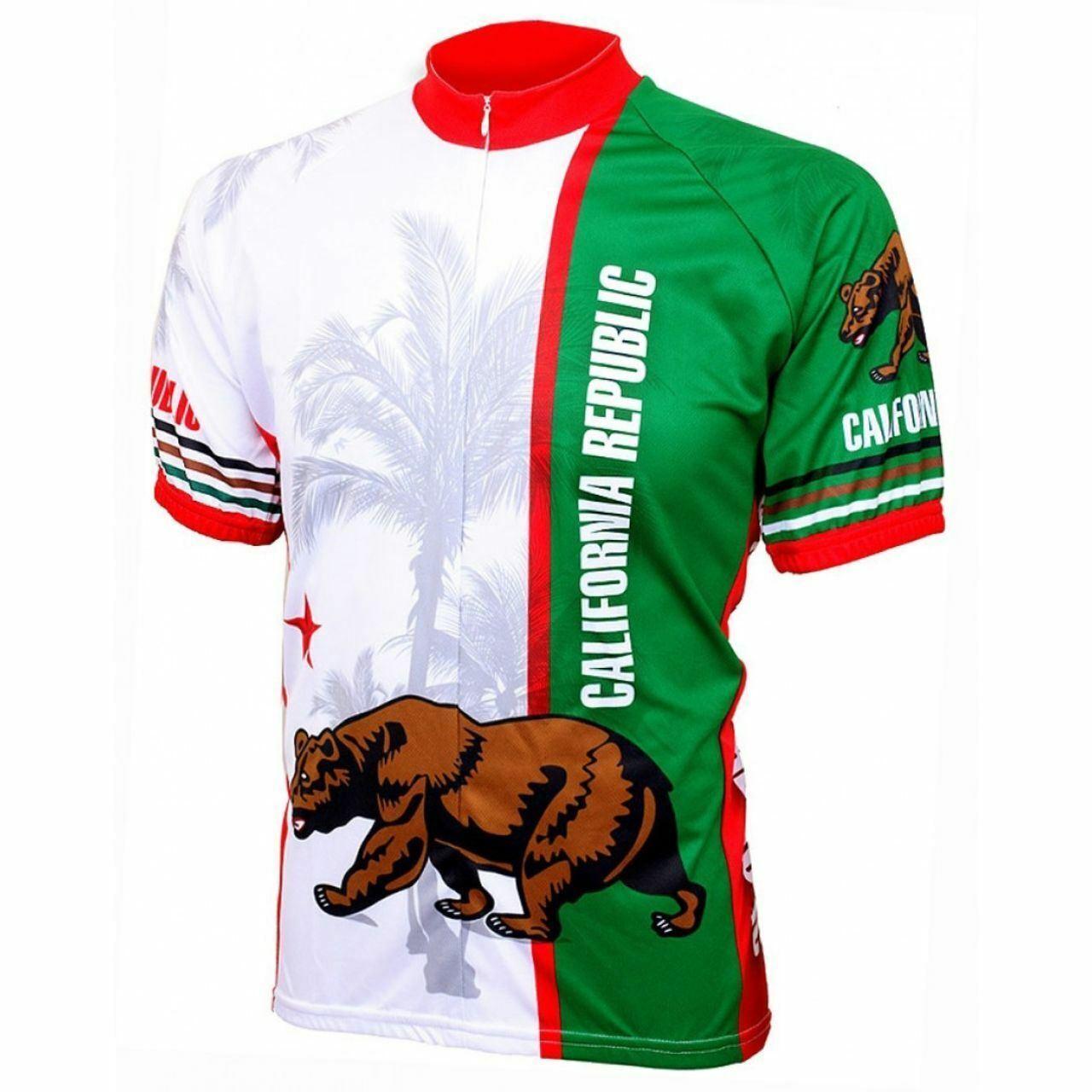 California Republic Flag Short sleeve 19 zip uomo cycling jersey