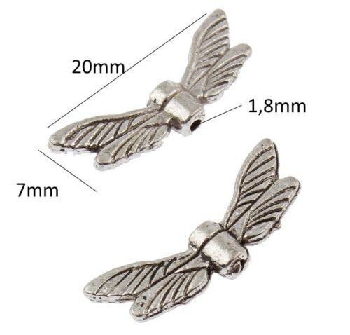 10 Metallperlen Flügel Engel Anhänger Engelsflügel Halskette Schmuck Bastel M448